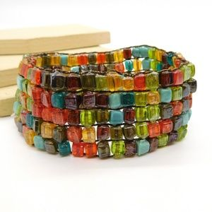 VIntage Multi-Color Block Art Glass Bracelet